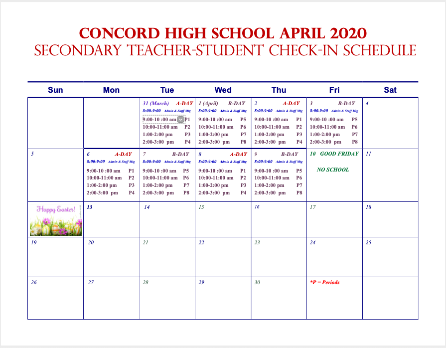 April 2020 Check in Schedule